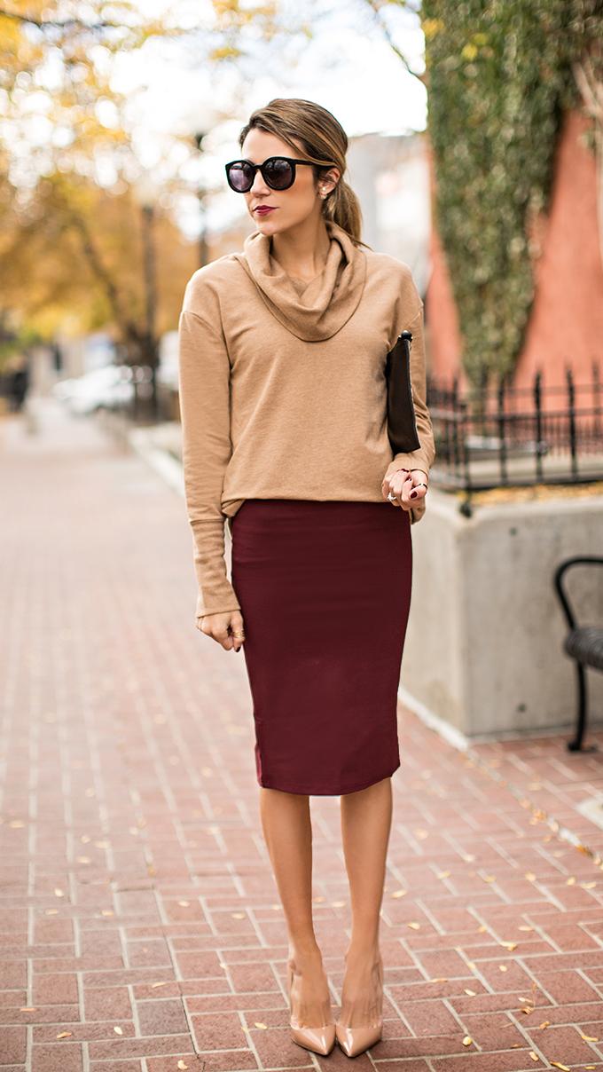 burgundy skirt hello fashion