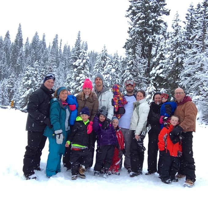 family snowmobiling trip
