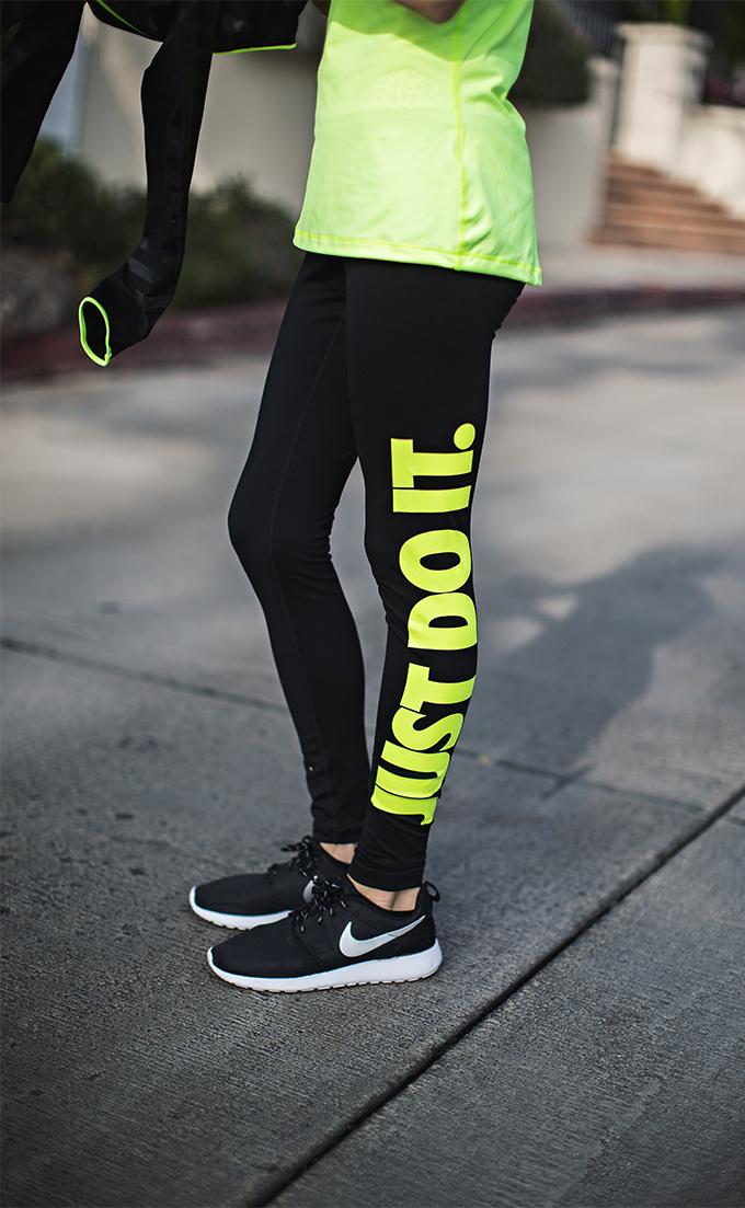 neon and black nike pants