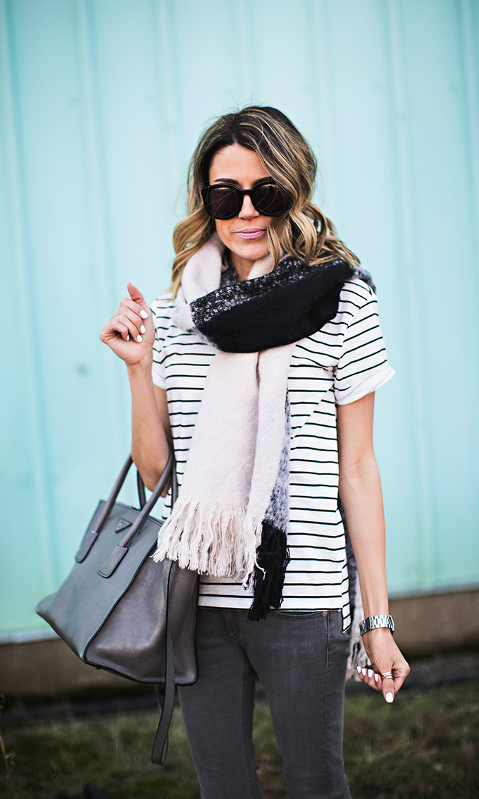 stripe tee and scarf