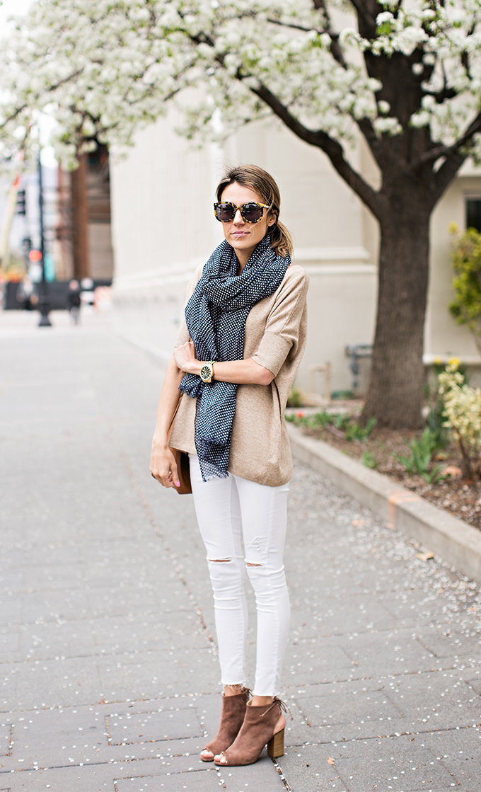 white and beige outfit