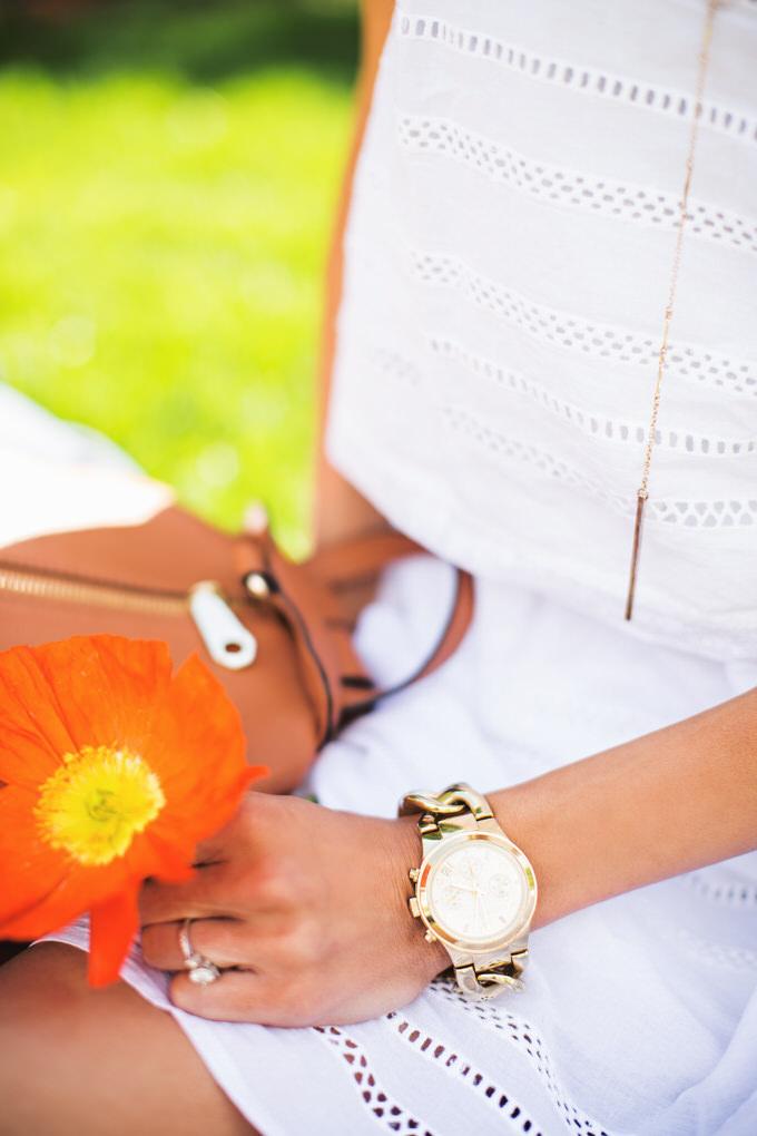 gold chain watch white dress