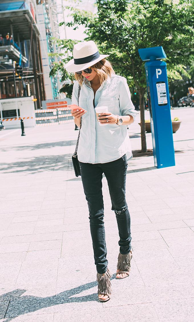 denim and black jeans