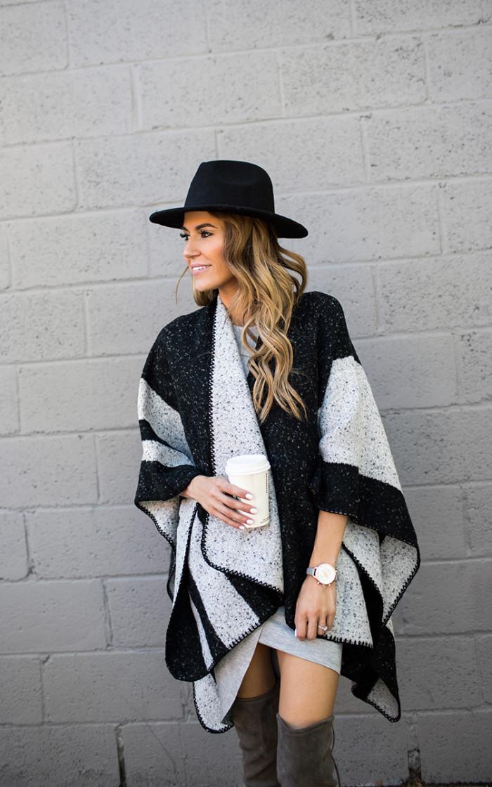 black and grey cape