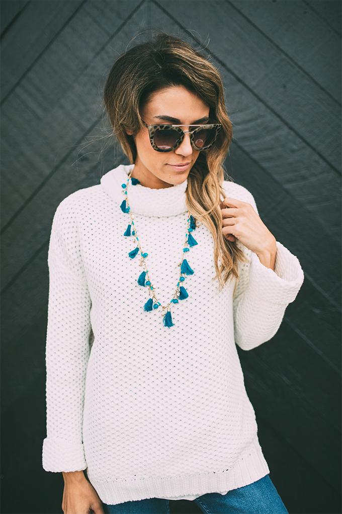 ily tassel fringe necklace