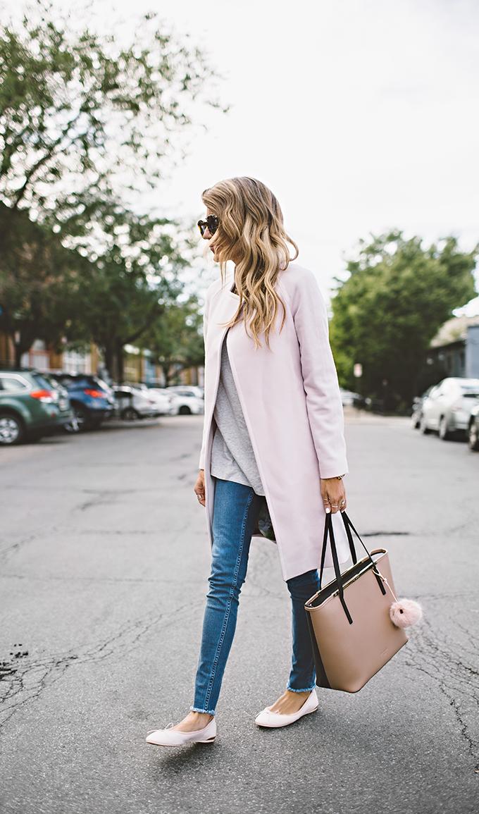 pink coat and flats