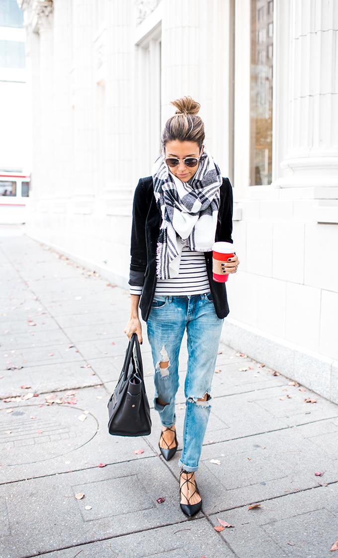 black velvet blazer and flats