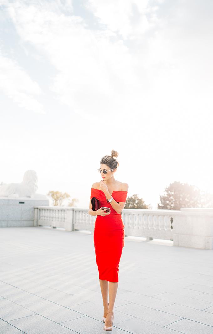 red holiday dress hello fashion blog