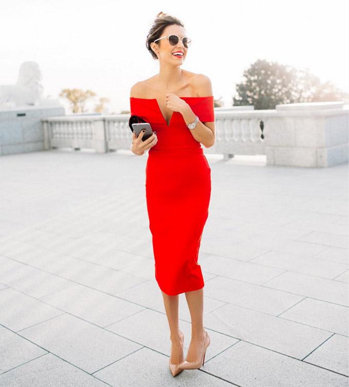 off the shoulder red dress christine andrew