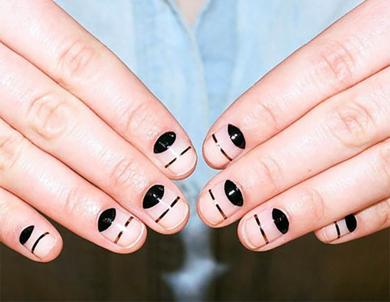 black geometric manicure