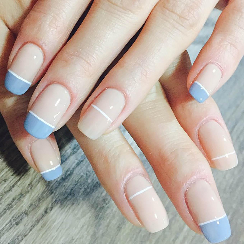 blue and nude geometric manicure