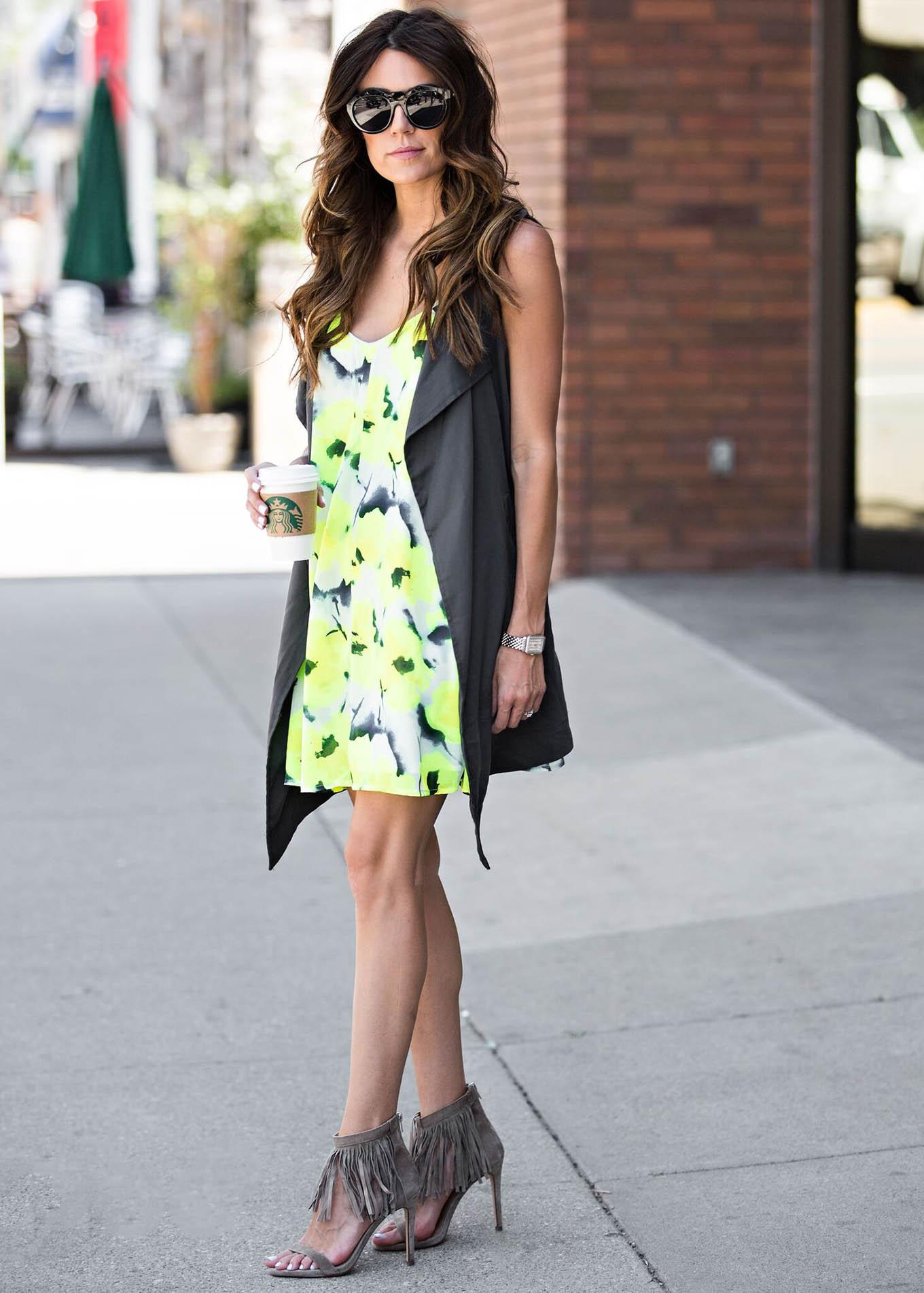 floral dress and vest