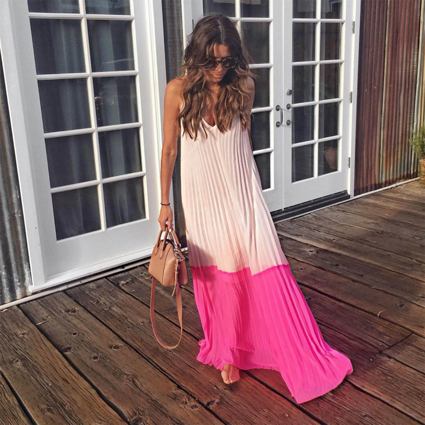 pink pleated maxi dress