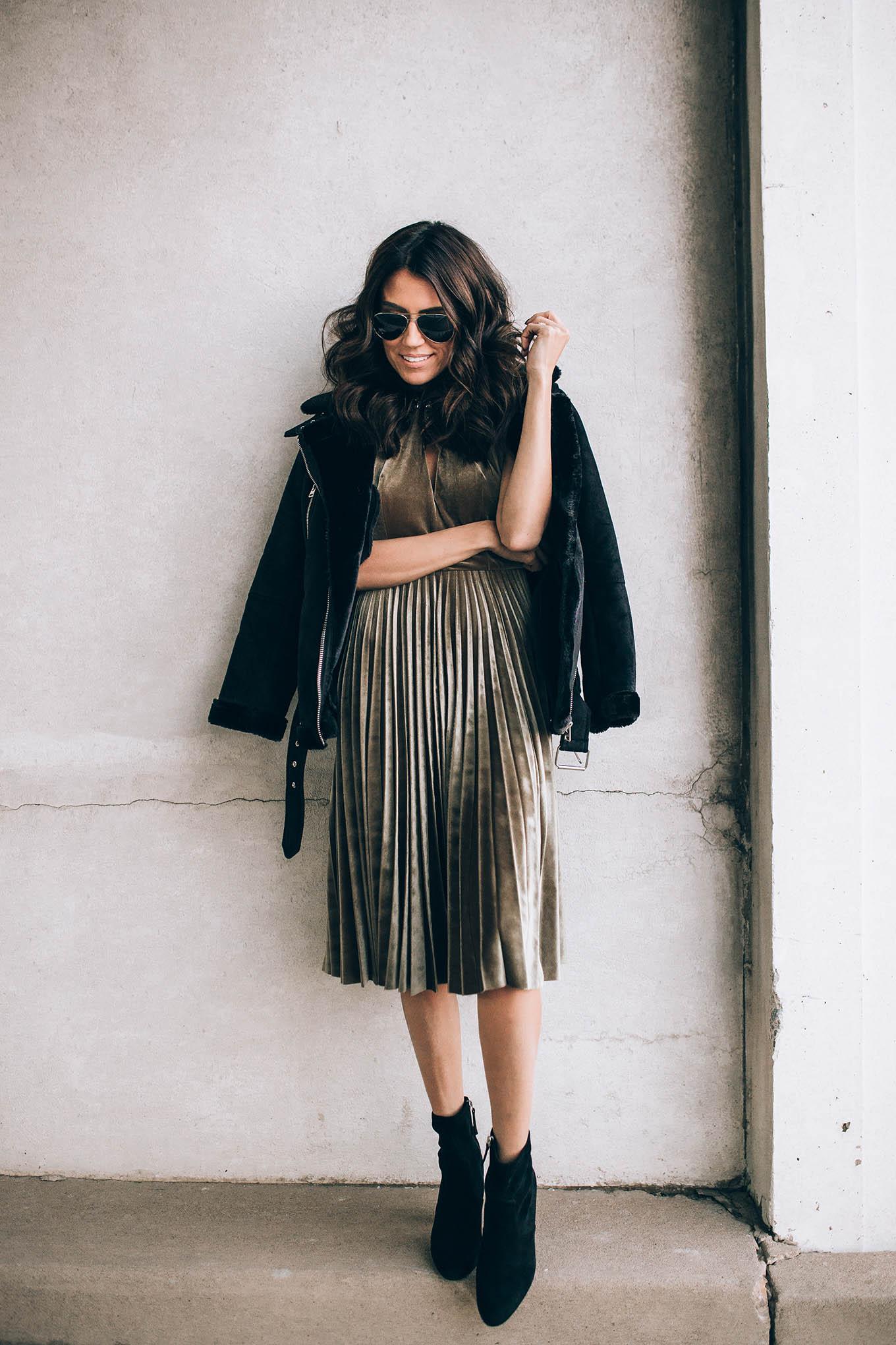 velvet dress and leather jacket