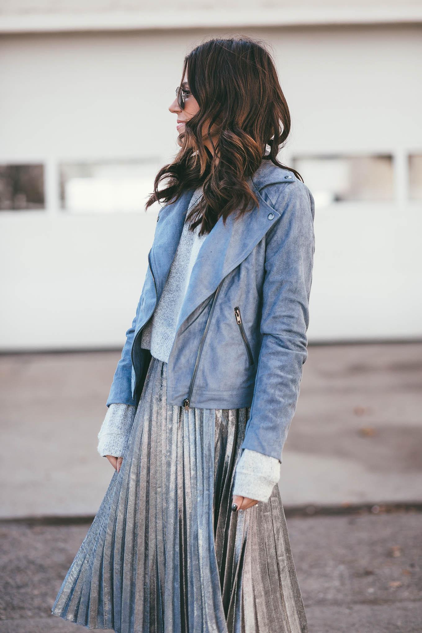 suede blue moto jacket
