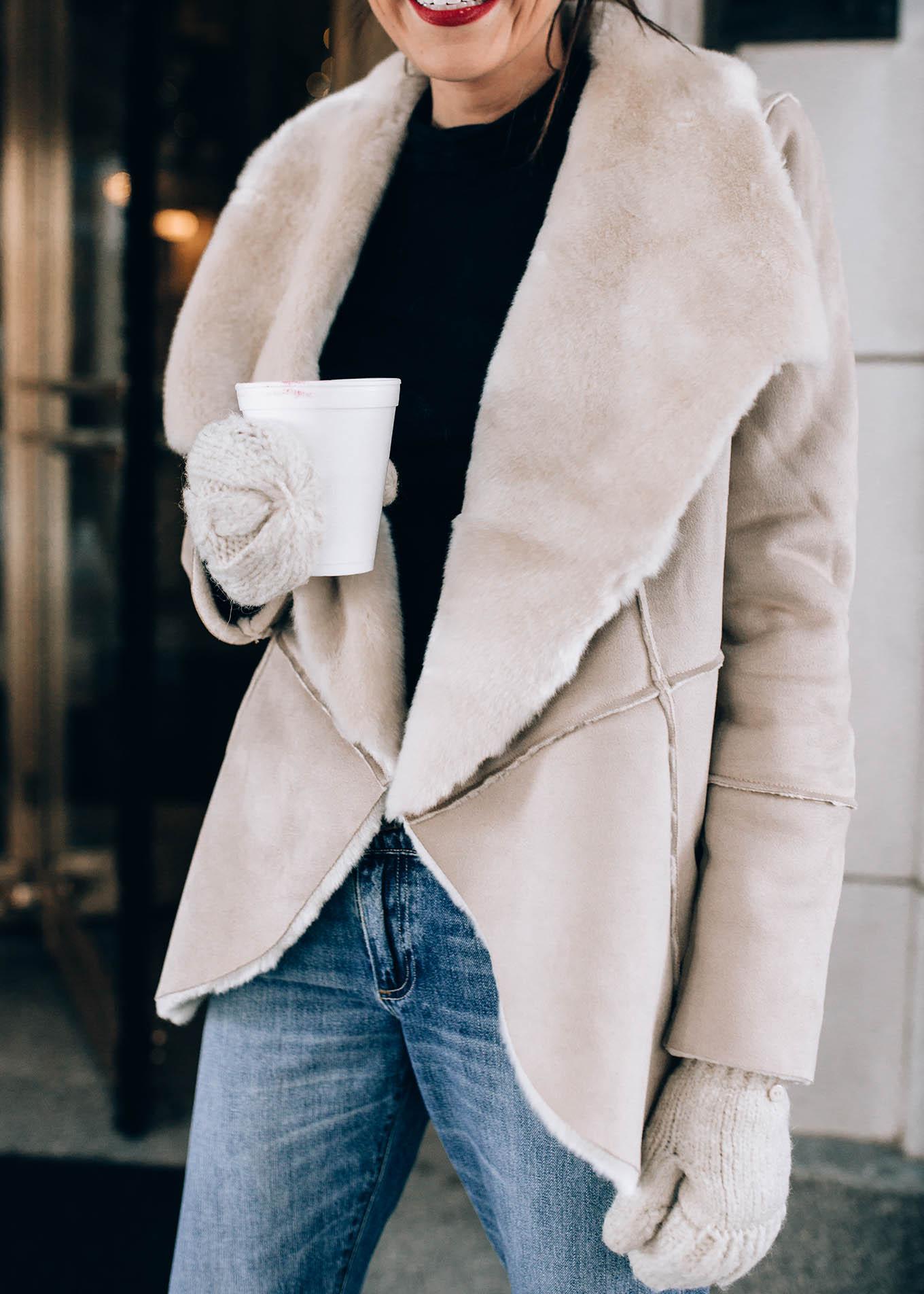 white sherpa coat hello fashion