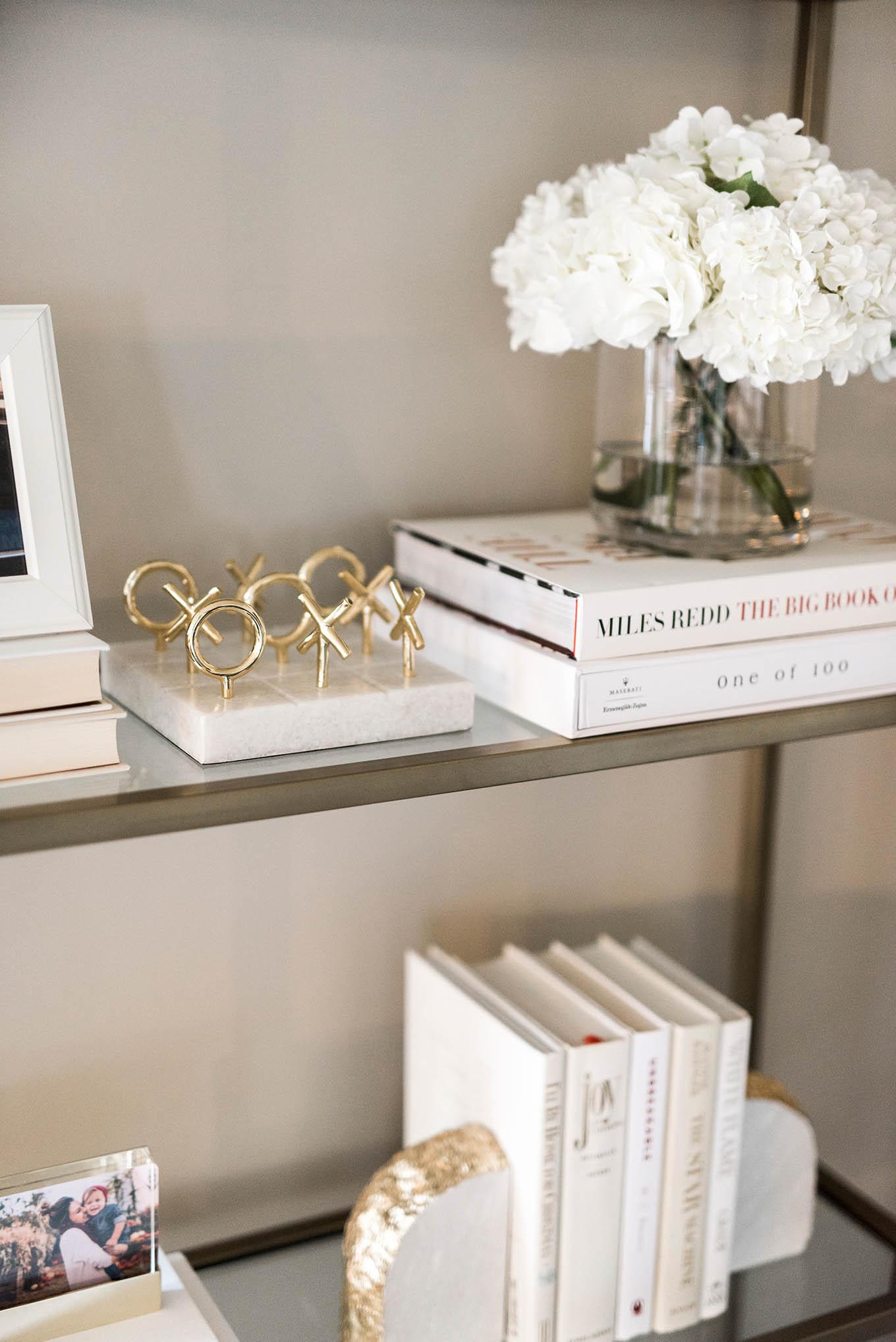 neutral bookcase decor