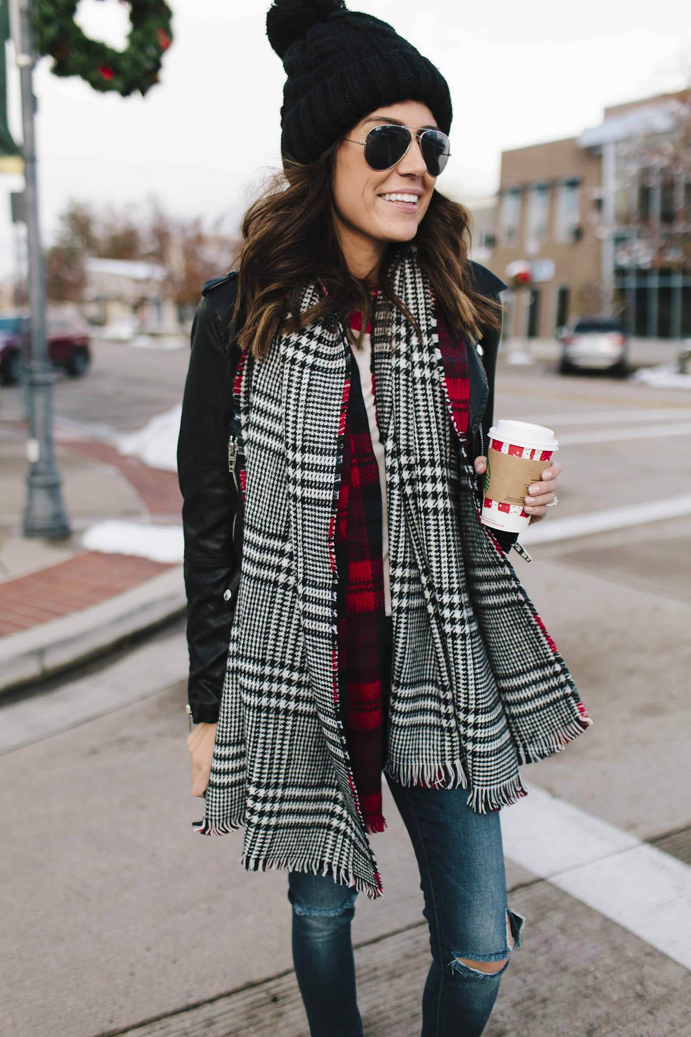 plaid reversible scarf