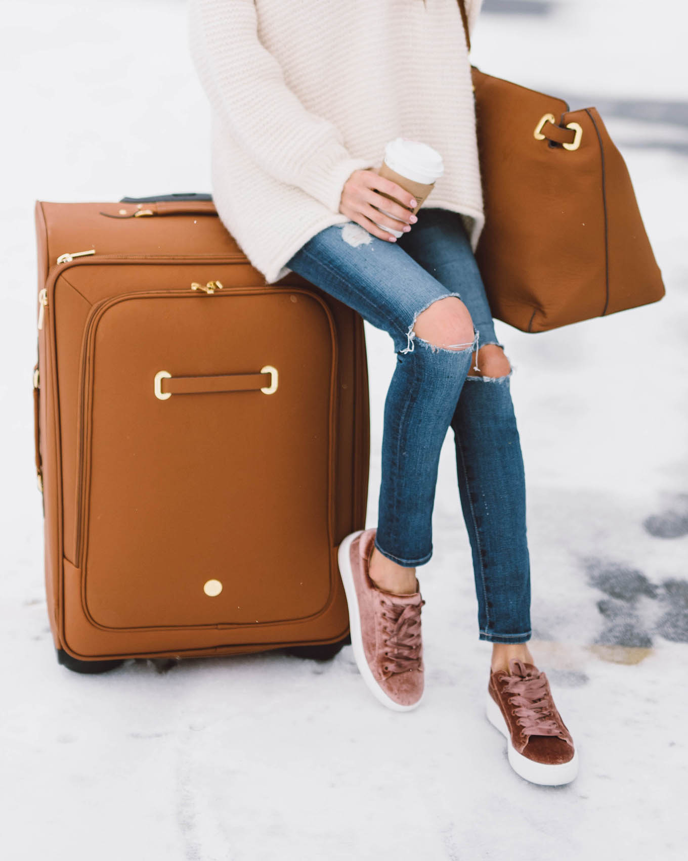 joy mangano leather suitcase