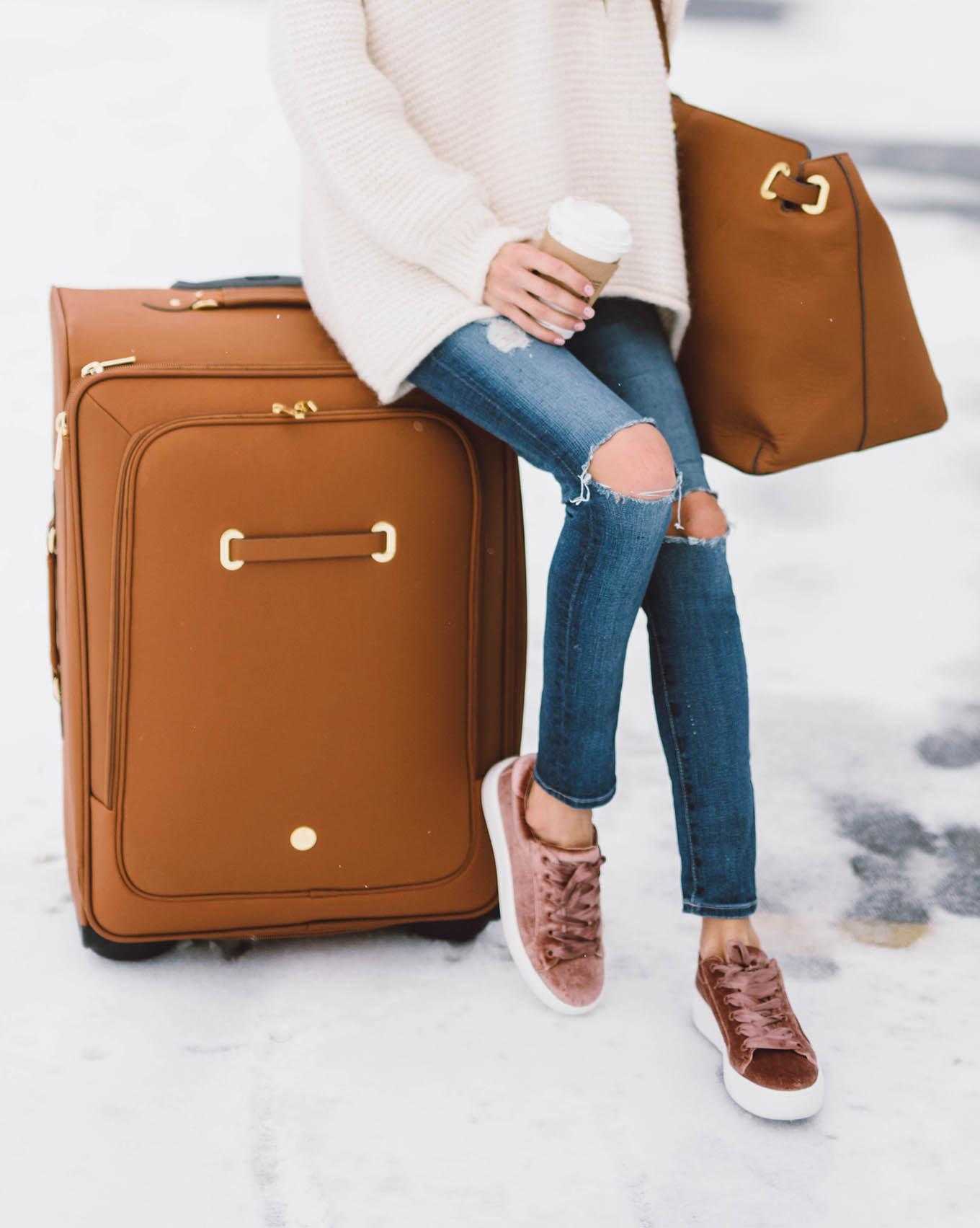 joy mangano leather suitcase