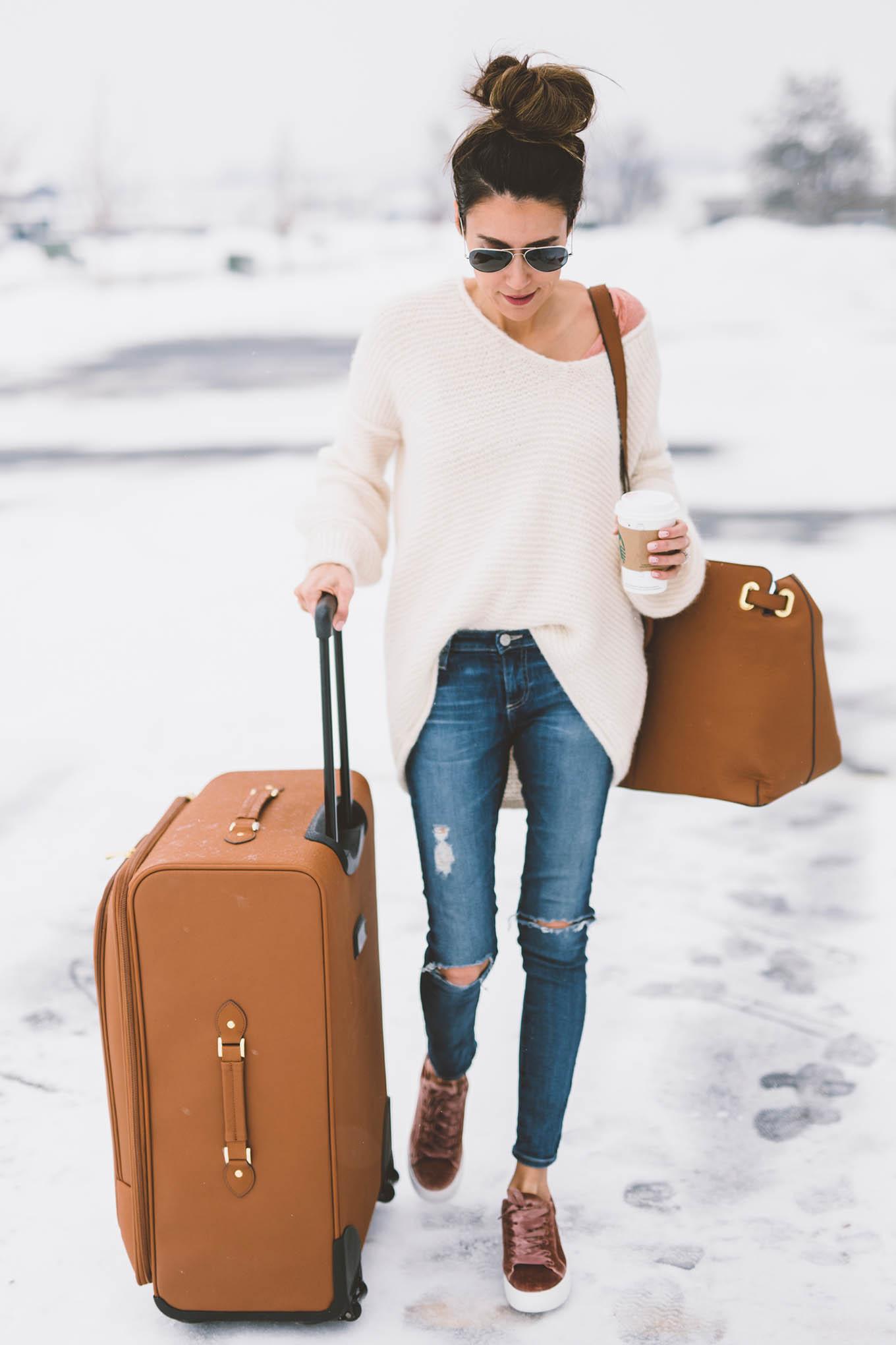 leather luggage hello fashion
