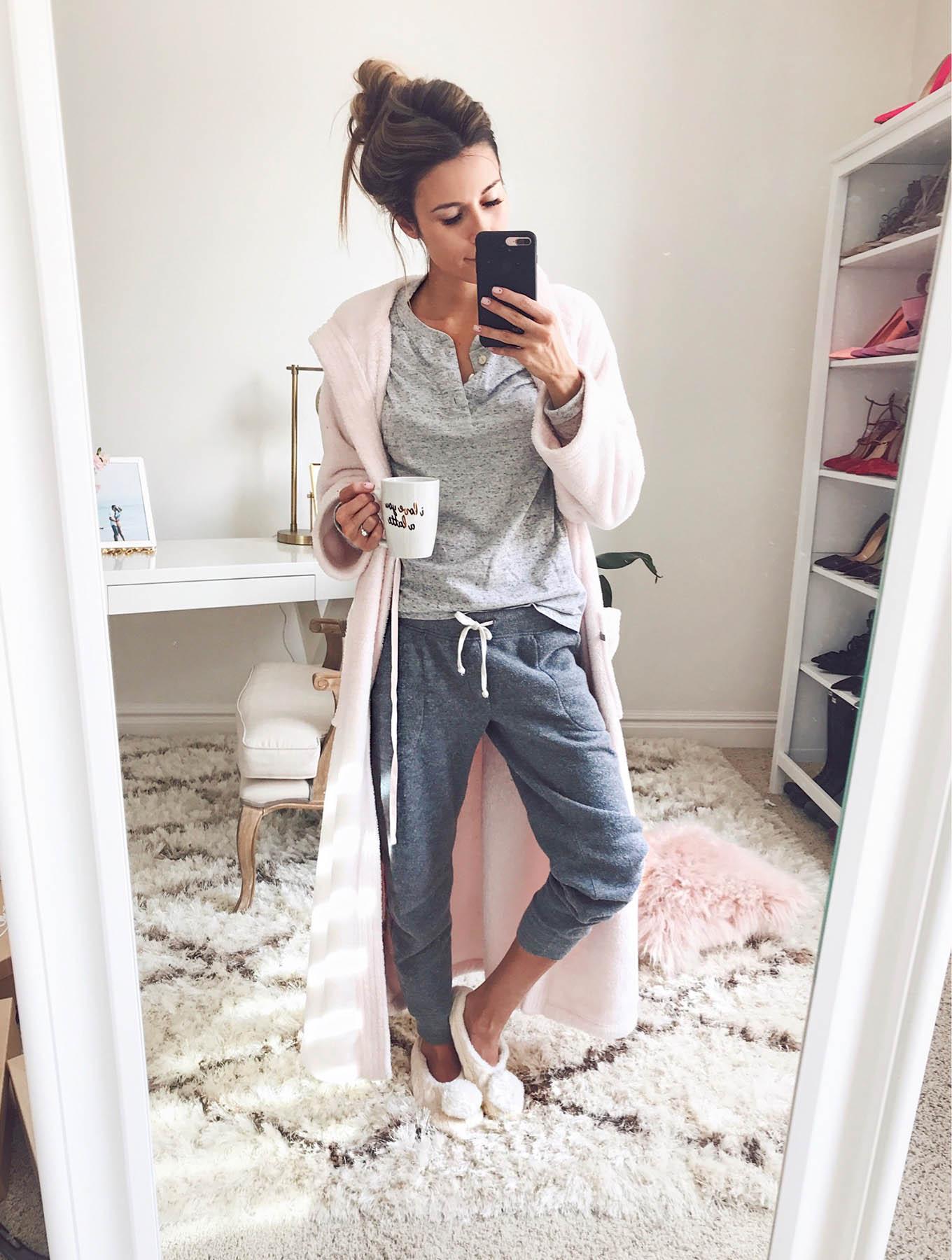 cute loungewear pink bathrobe hello fashion blog