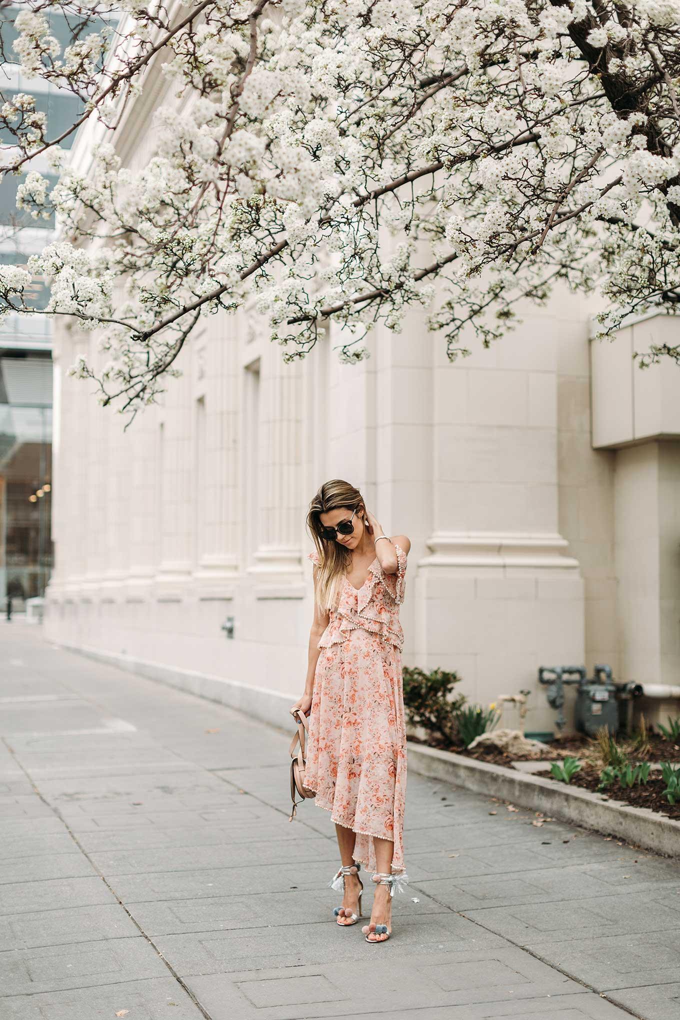 ruffled asymmetric sleeve dress