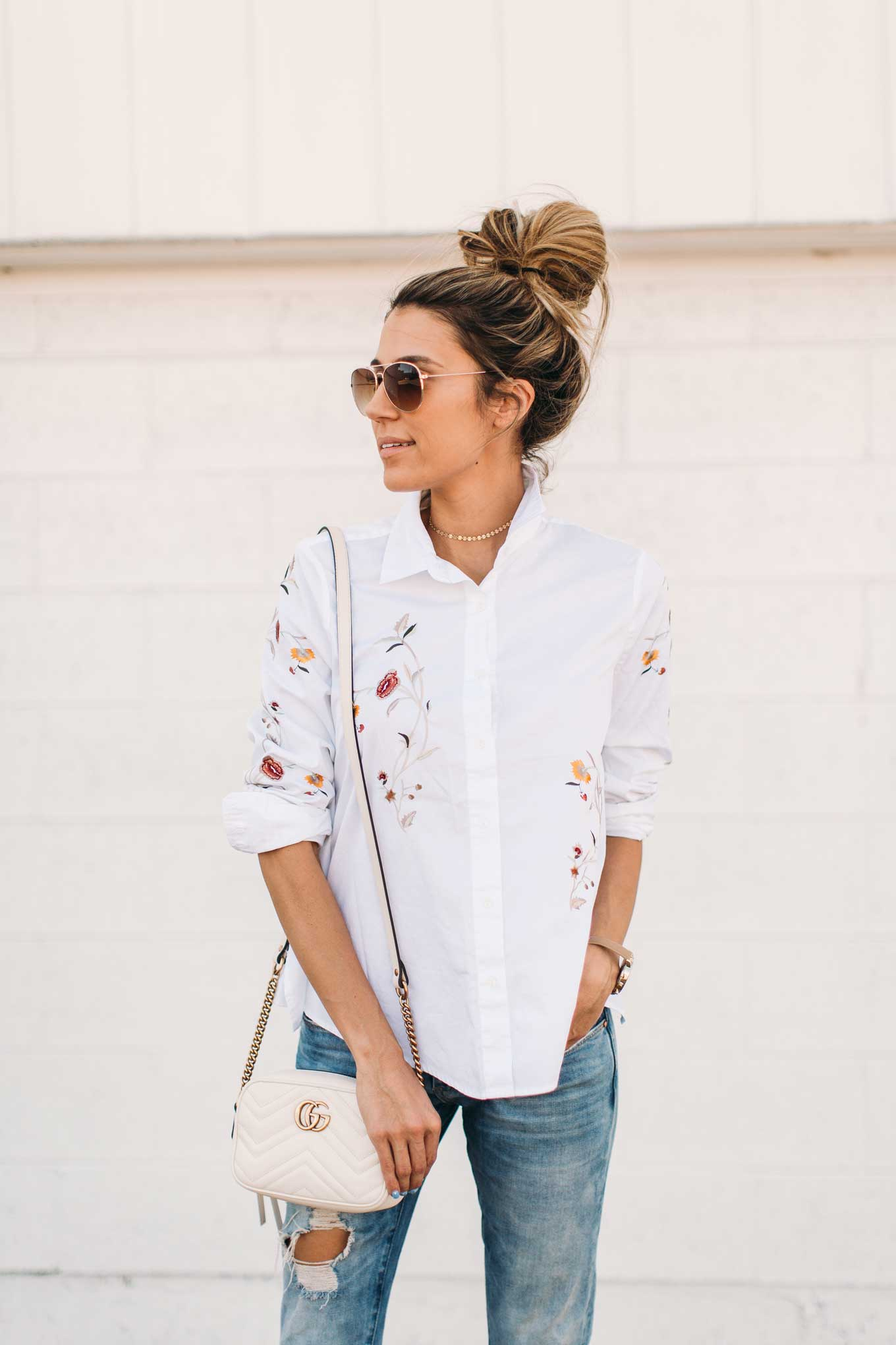 floral embroidered top gucci