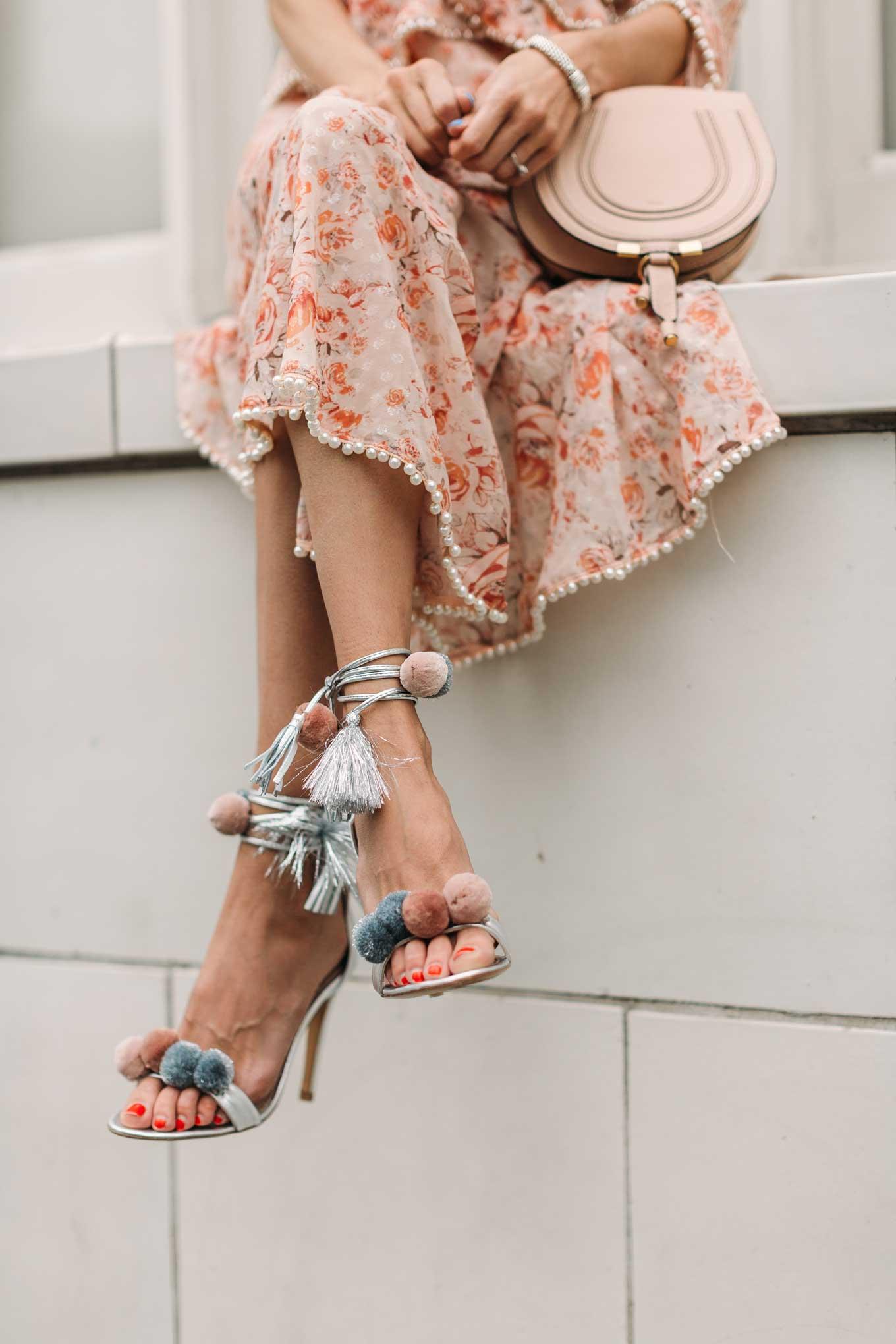 metal pom sandals