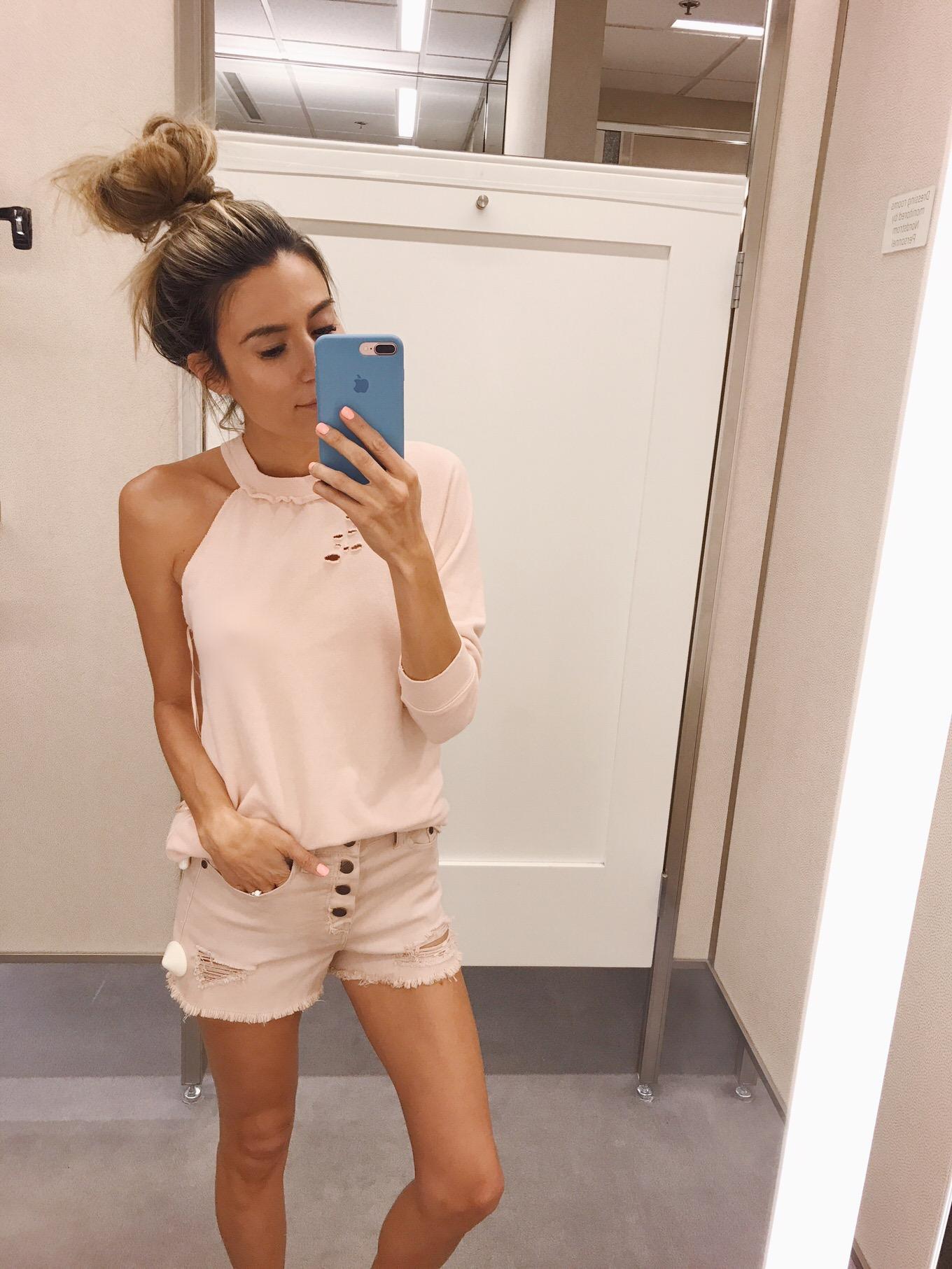 pink one shoulder sweatshirt