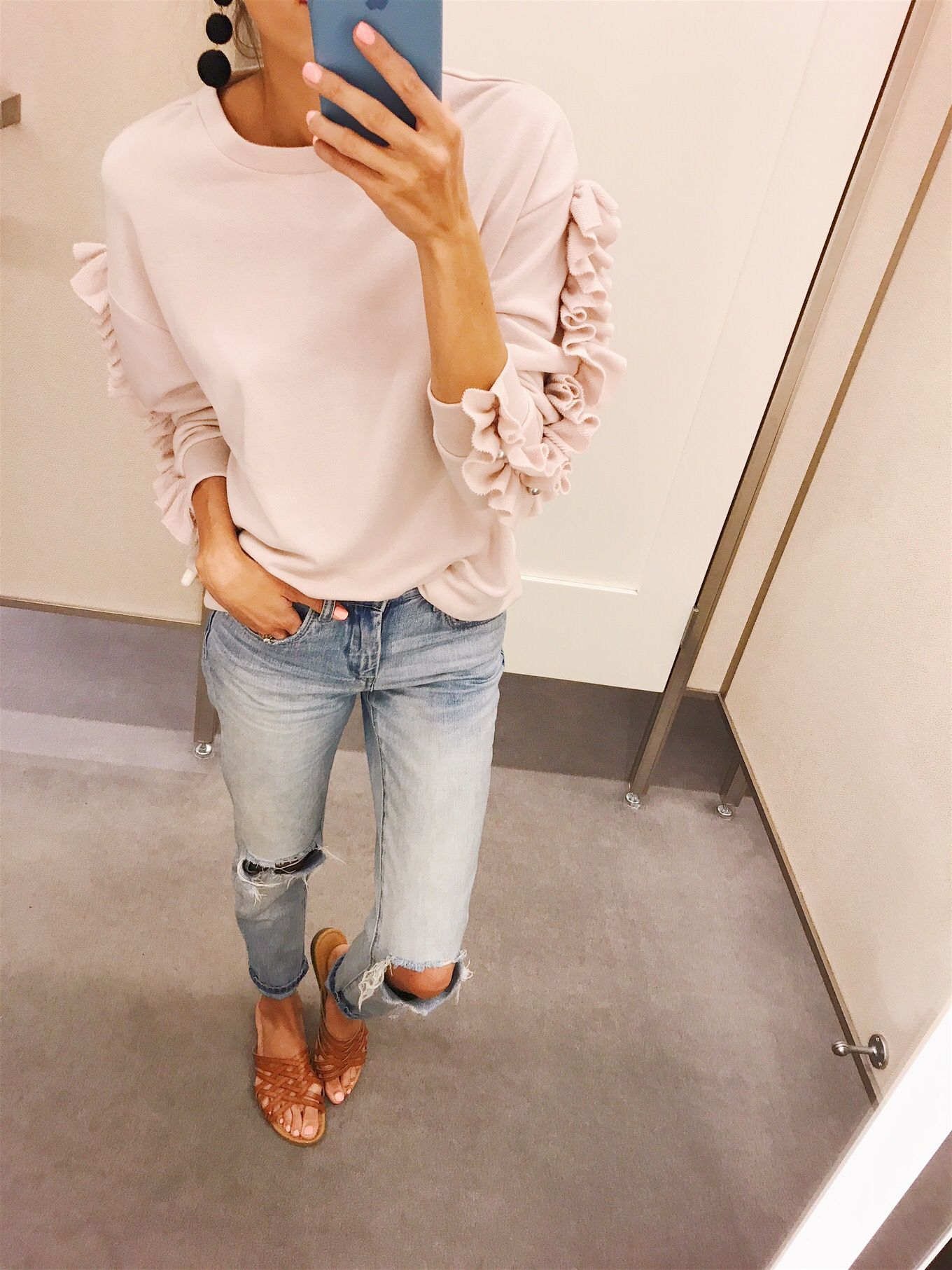 ruffled sweatshirt