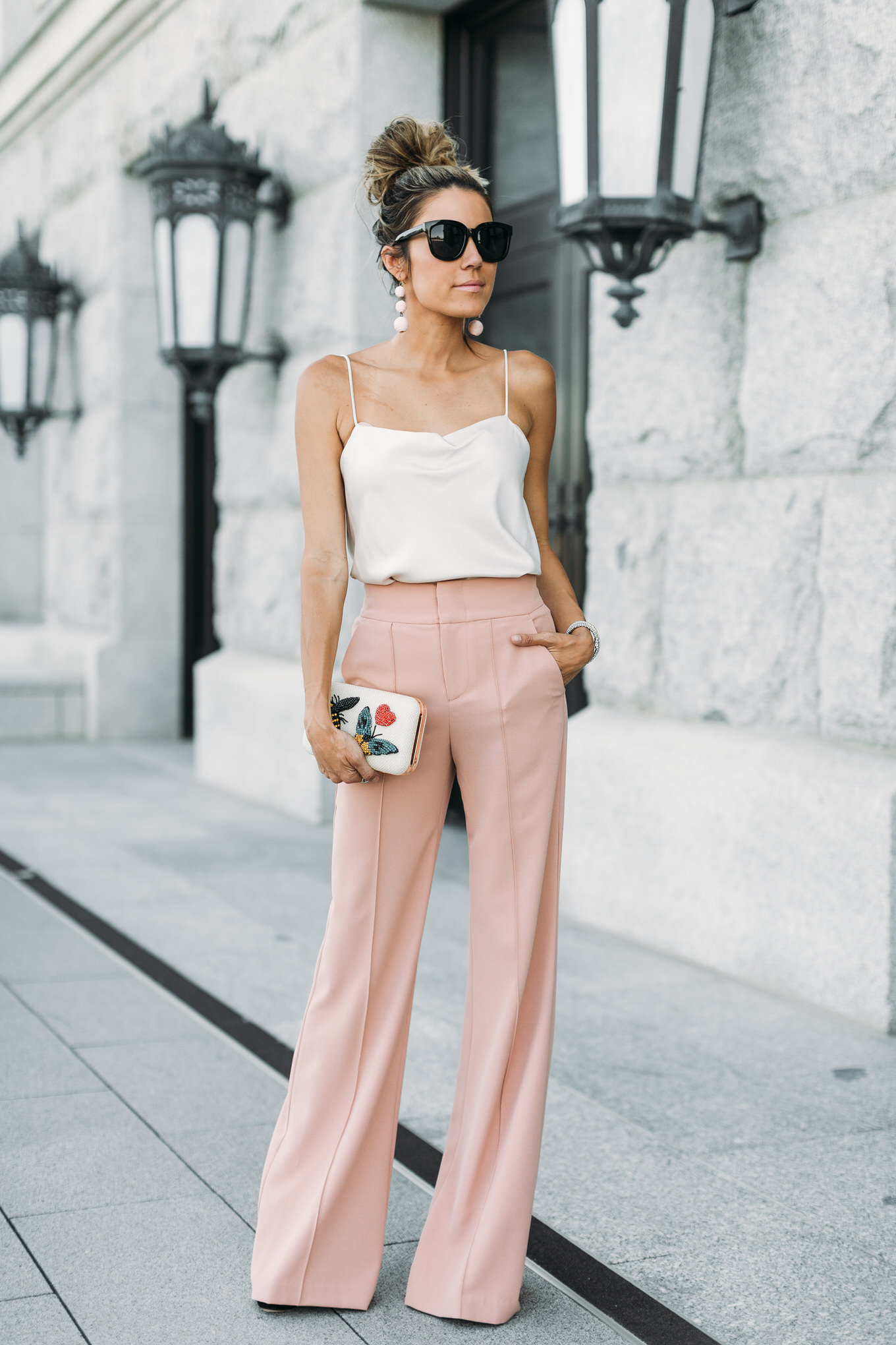 blush high waisted pants