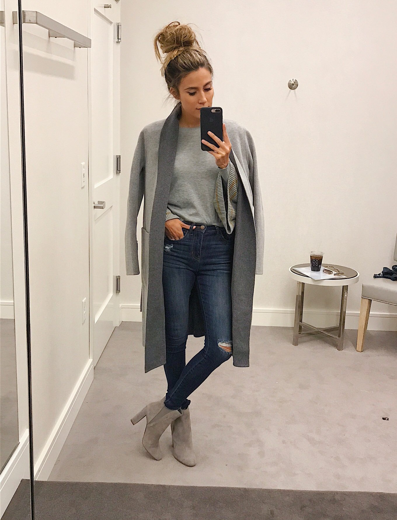 grey fall look