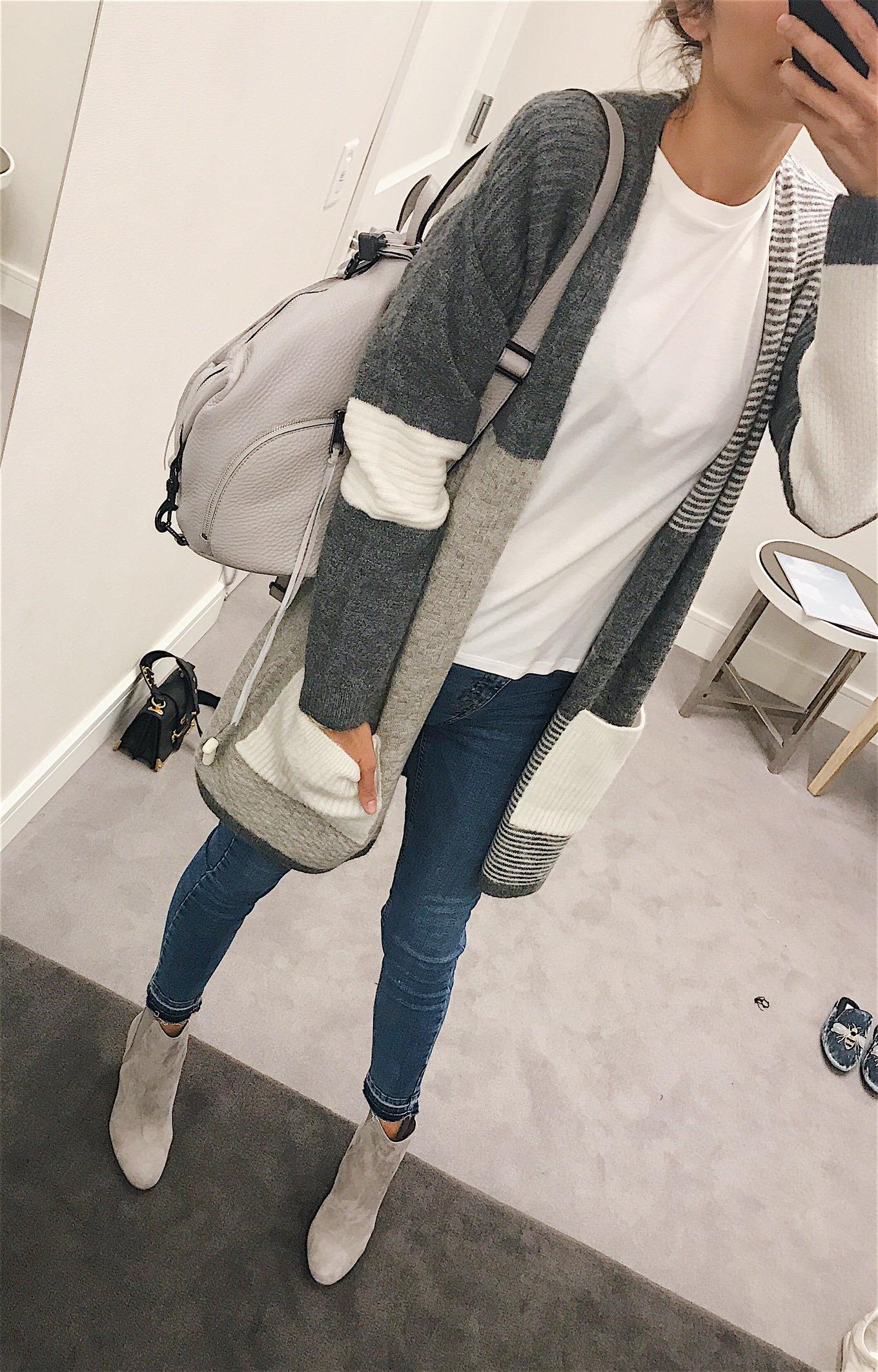 grey colorblocked cardigan