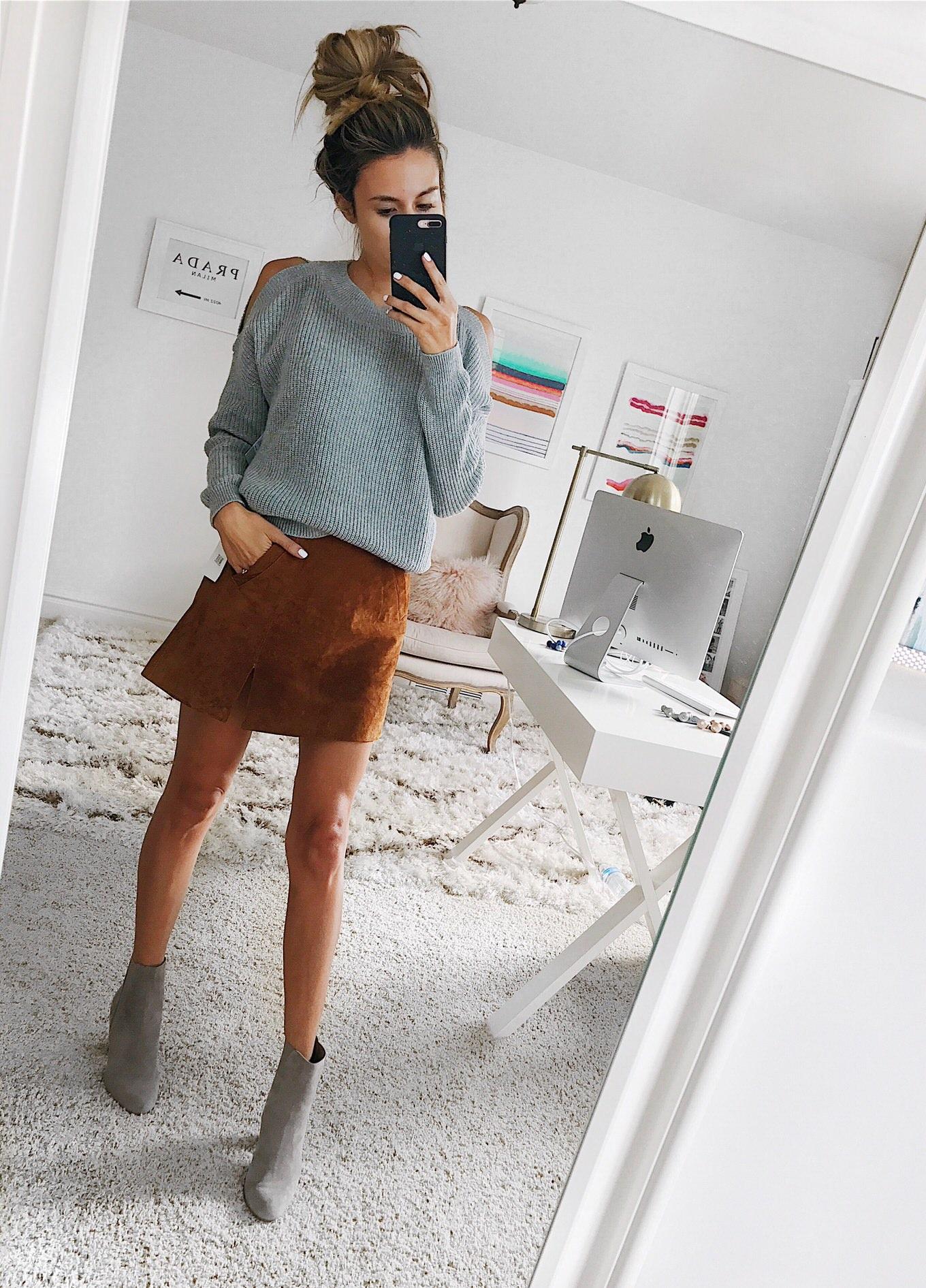 hello fashion suede skirt