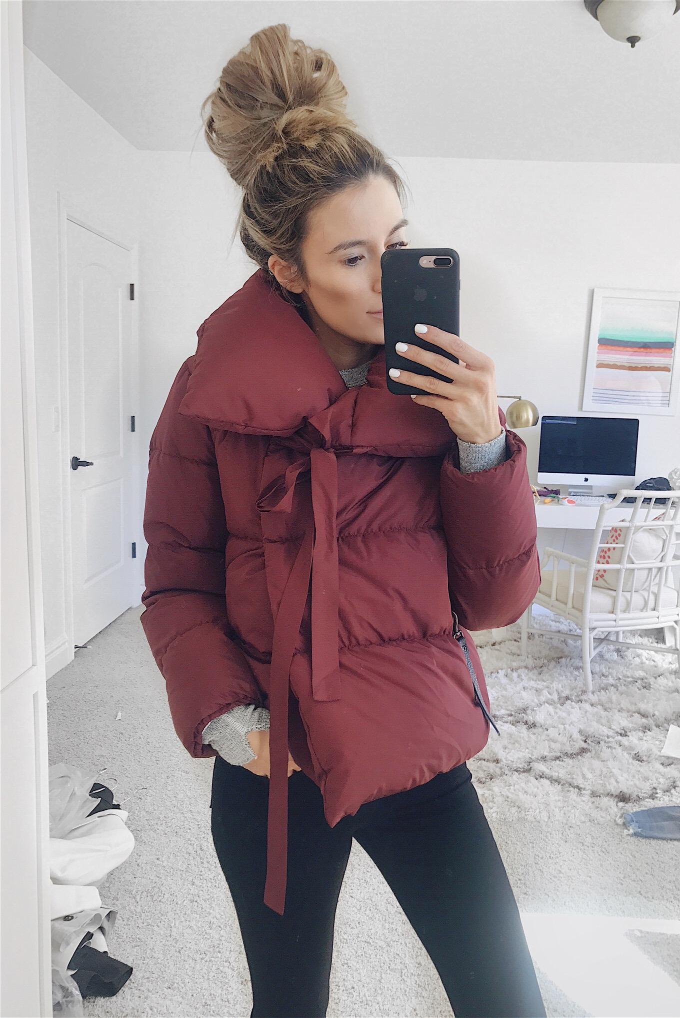 feminine puffer coats