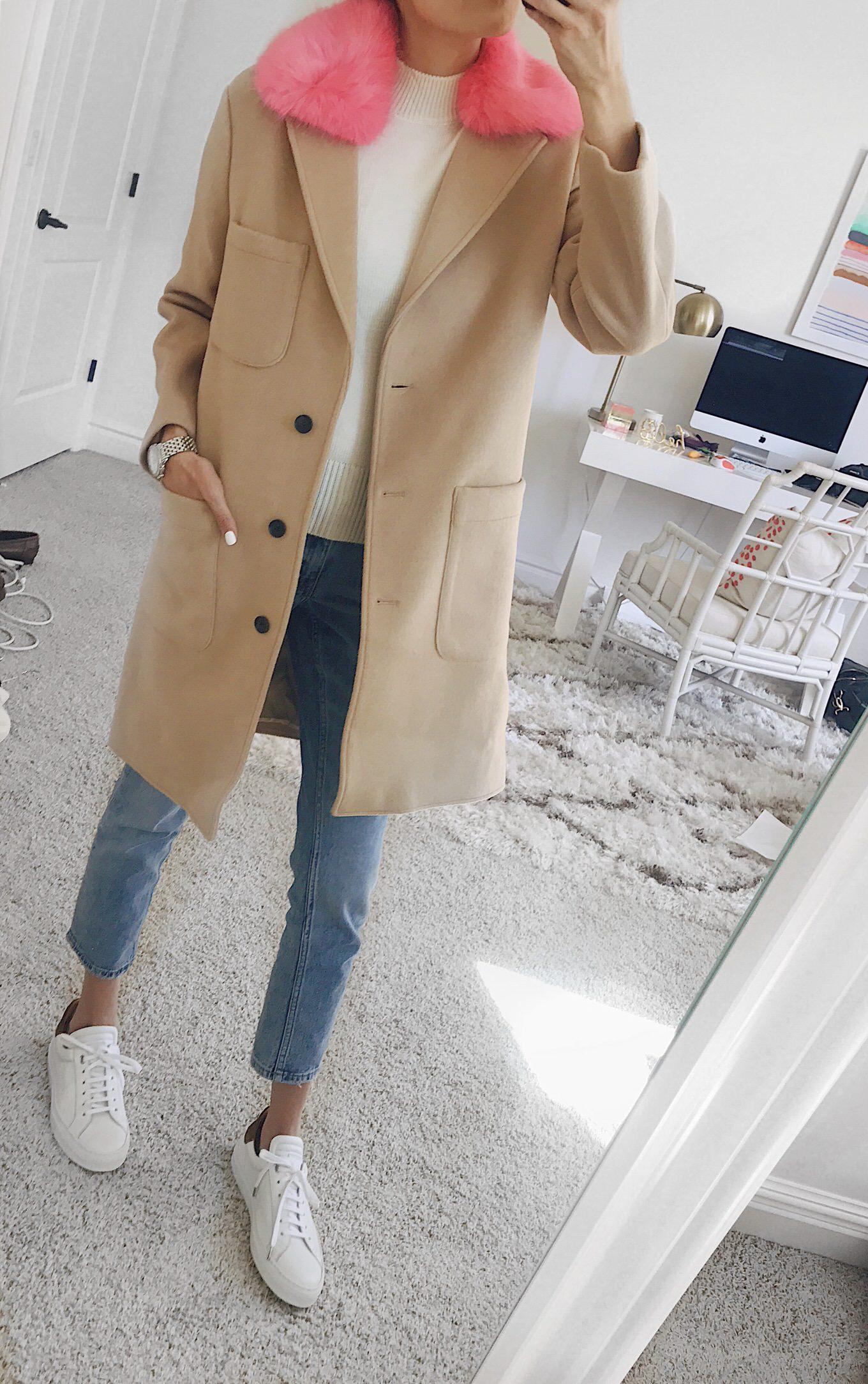 coat with fur trim