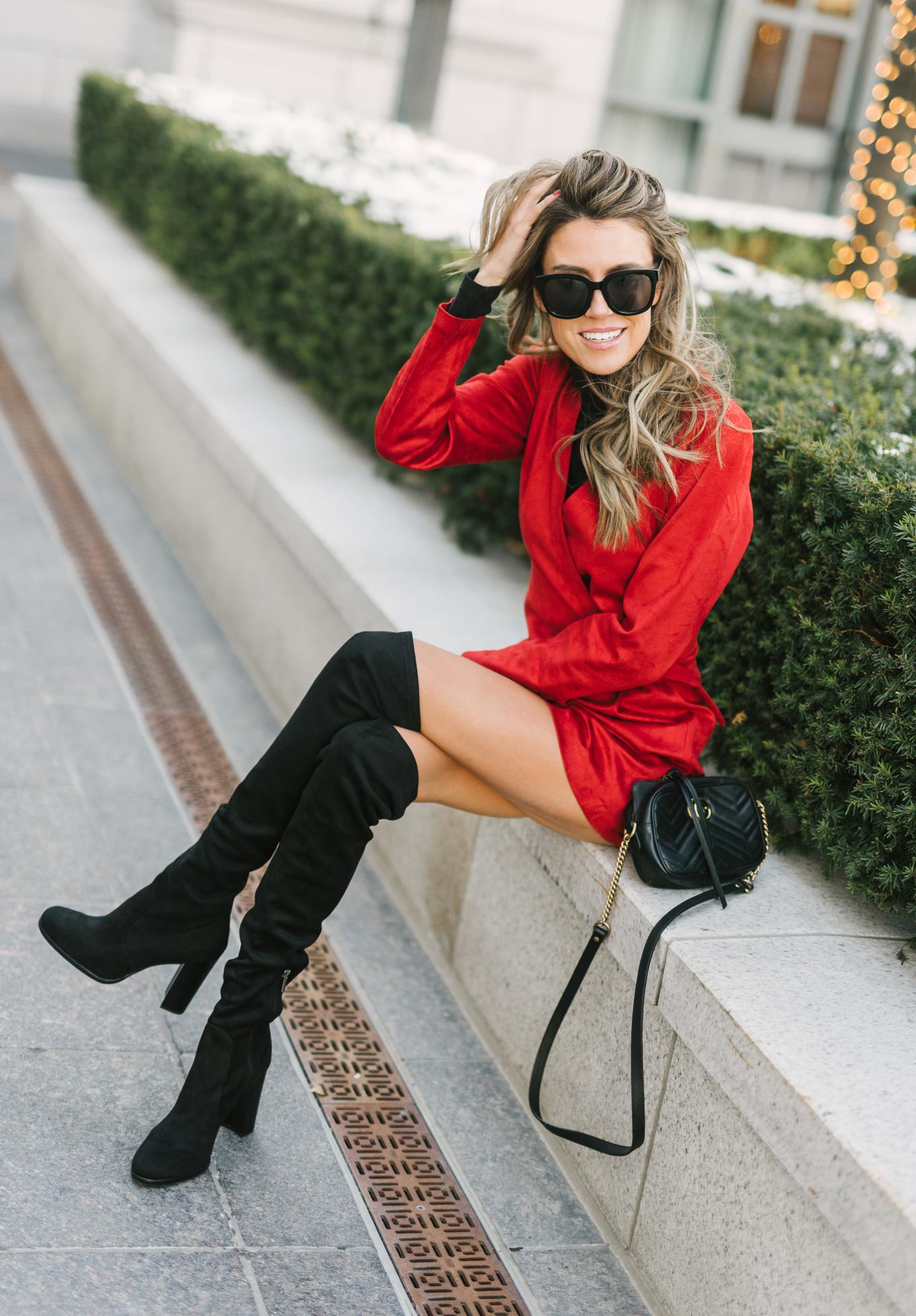 mini dress and otk boots