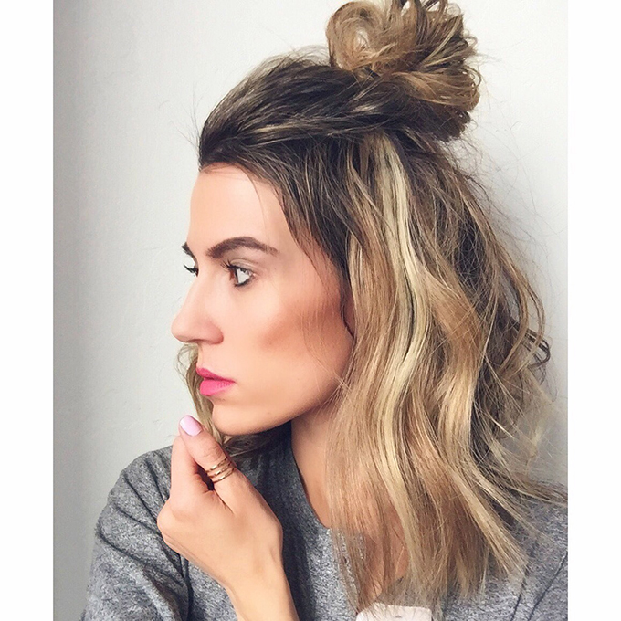half bun with short hair
