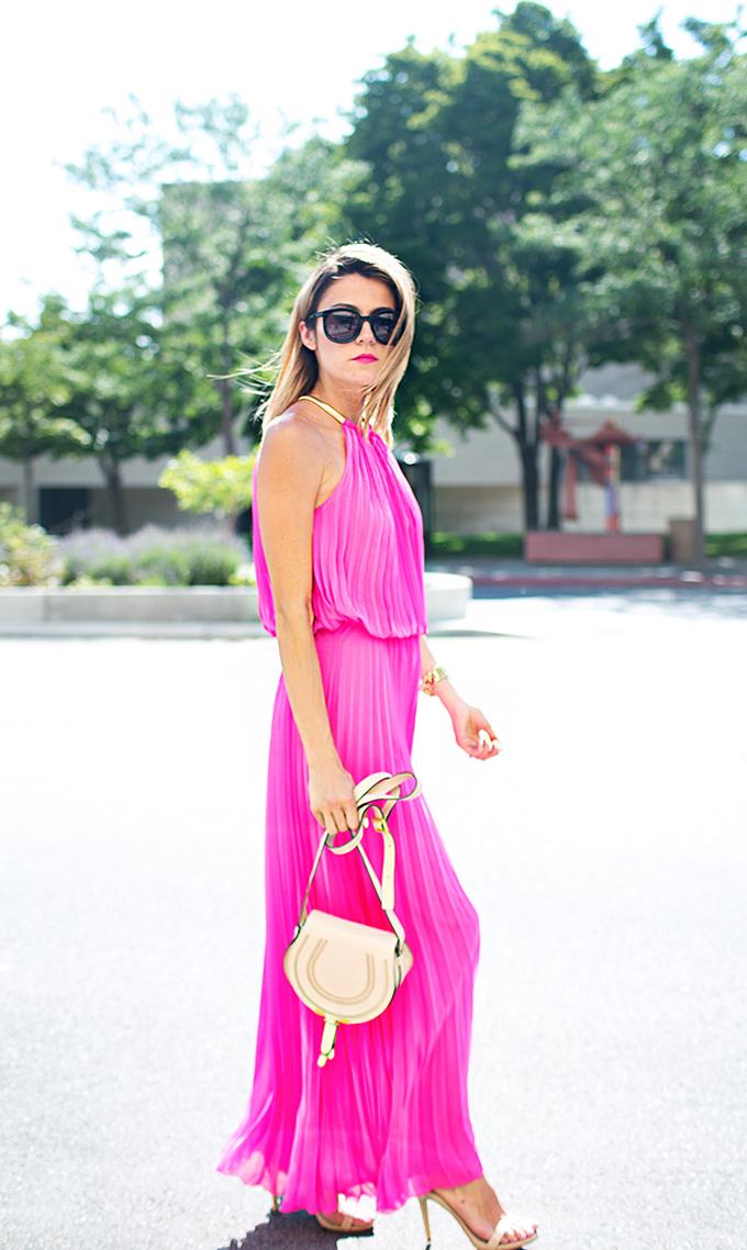pink pleated maxi dress hello fashion blog