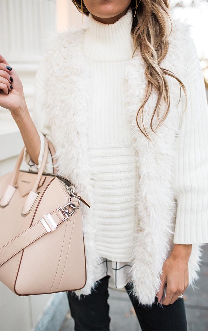 White Fur Vest Hello Fashion Blog