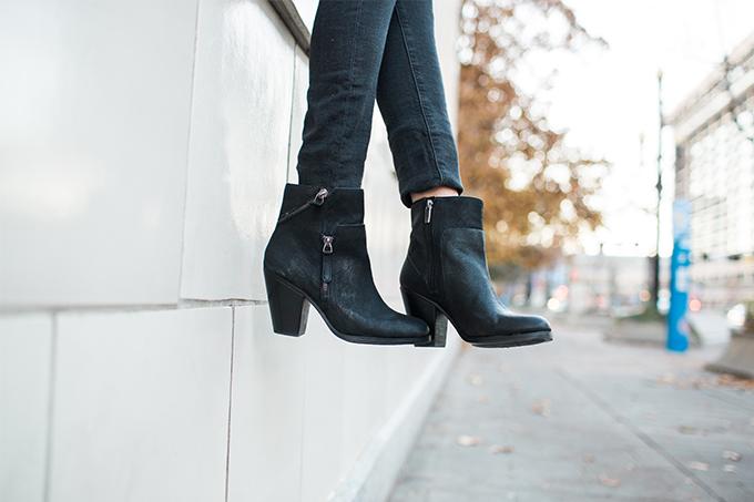 Cute Black Zip Ankle Booties