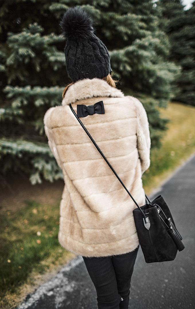 Cute Fur Coat with Black Bow Hello Fashion Blog