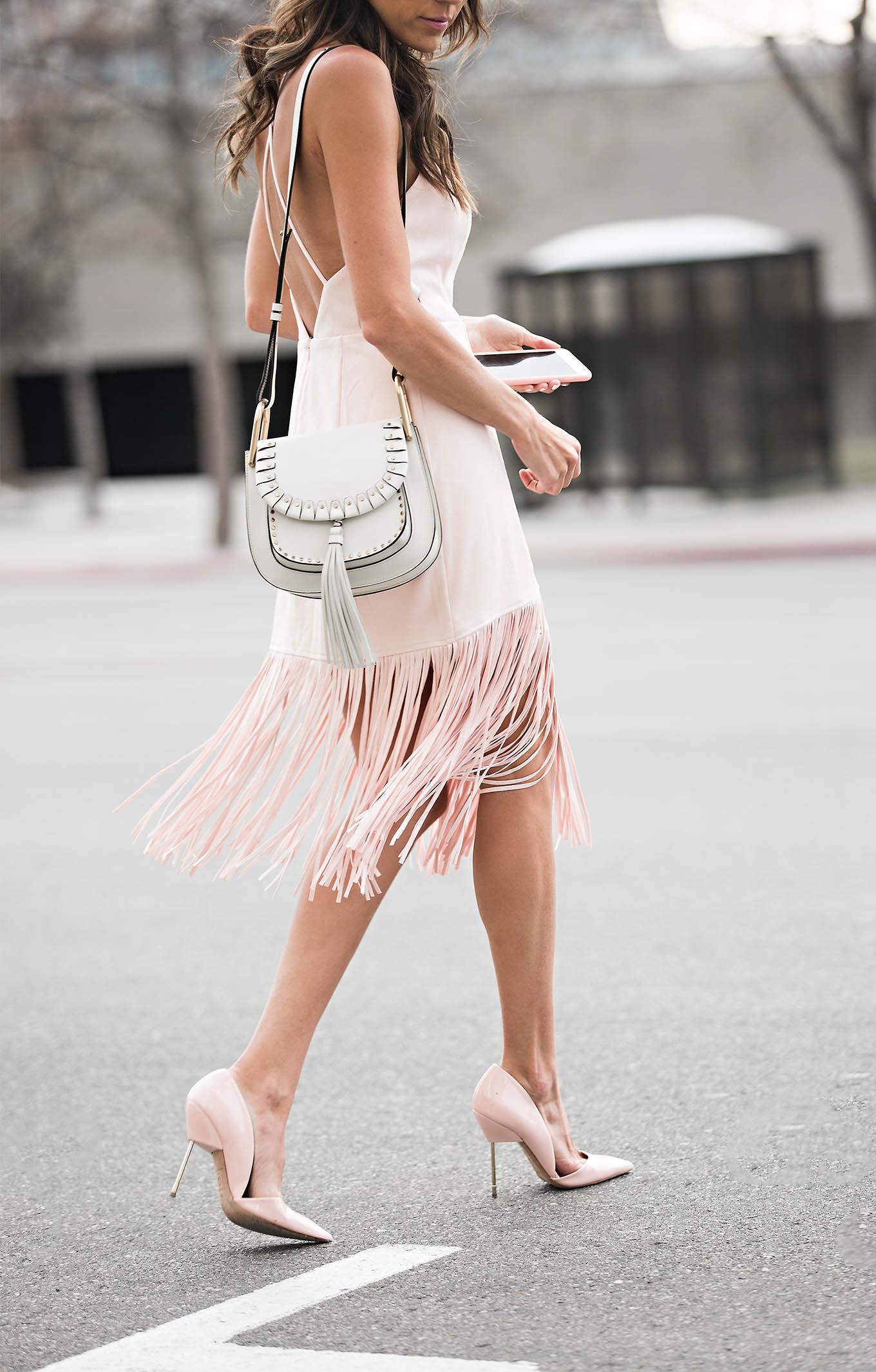 Blush fringe dress Hello Fashion Blog