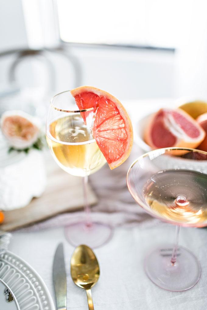 Pink Gold Rimmed Wine Glasses