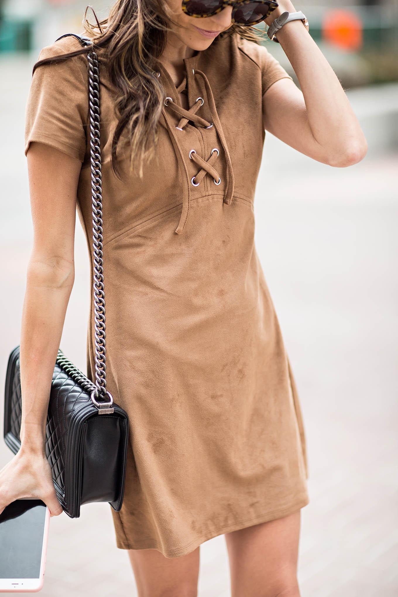 Express suede dress