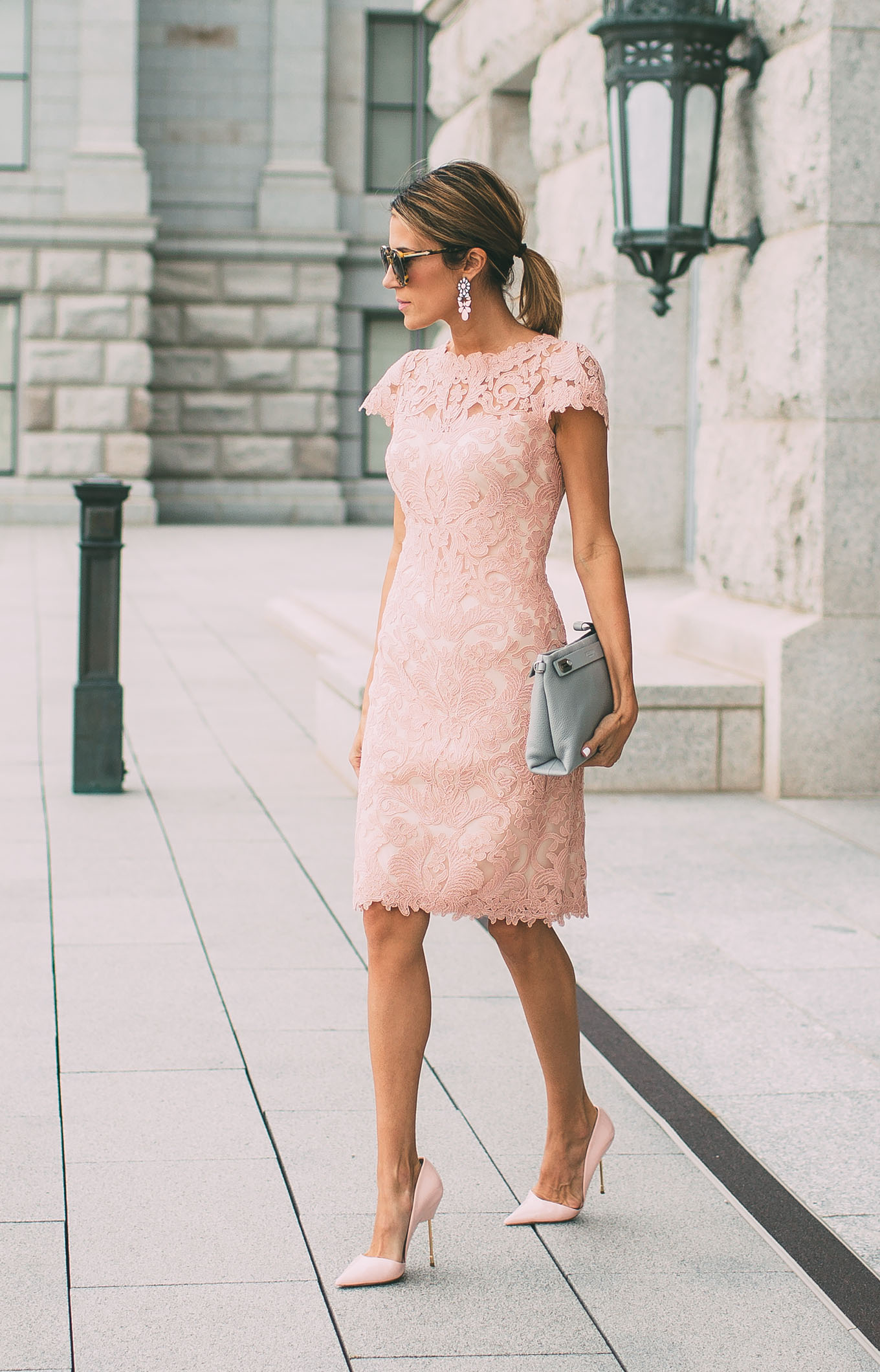 Neutral colored lace dresses