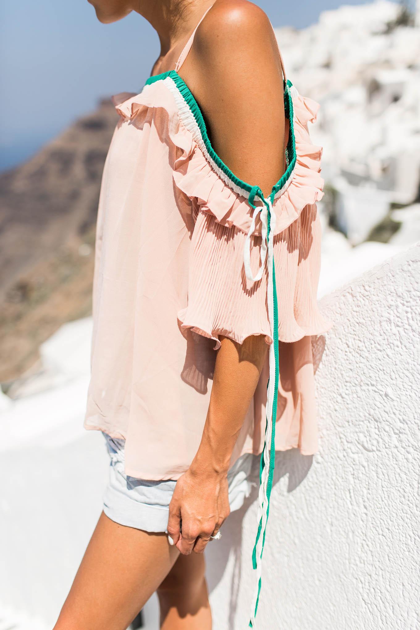 blush cold shoulder top