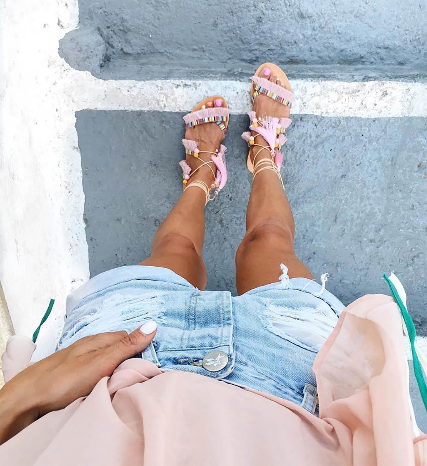 Hello Fashion Pink Gladiator Sandals