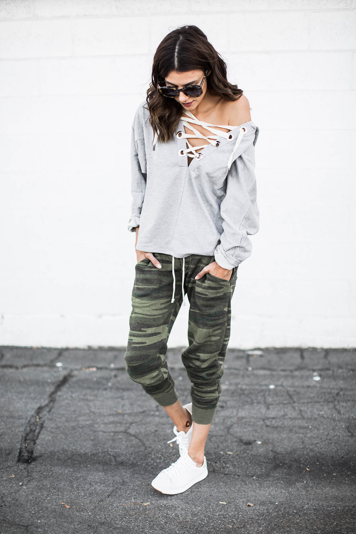lace-up off-the-shoulder sweatshirt